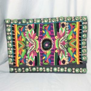 Ornately Embroidered Beaded Envelope Clutch